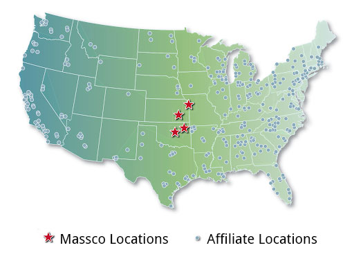 Massco Locations and Affiliate Contact Map